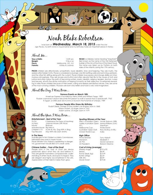 Noah's Ark print without photo
